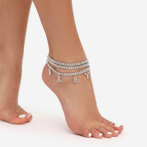 Baby Slogan Multi Chain  Anklet In Silver