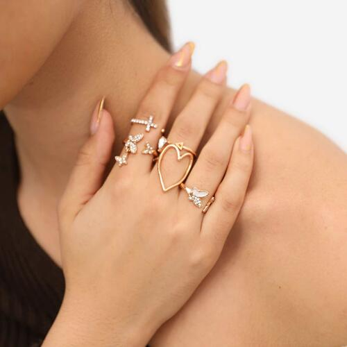 Heart And Butterfly Detail Multi Pack Rings In Gold