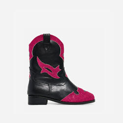 Mixer Girl's Pink Glitter Detail Western Ankle Boot In Black Faux Leather