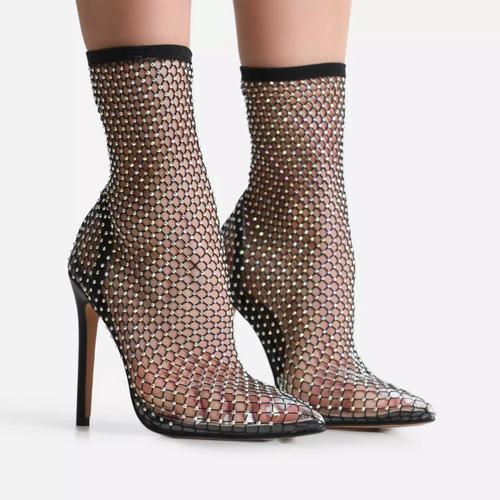 Vakili Multi Diamante Detail Heel Ankle Sock Boot In Black Fishnet