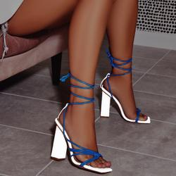 Neima Lace Up Square Toe Clear Perspex Block Heel In Reflective Silver And Blue Faux Leather