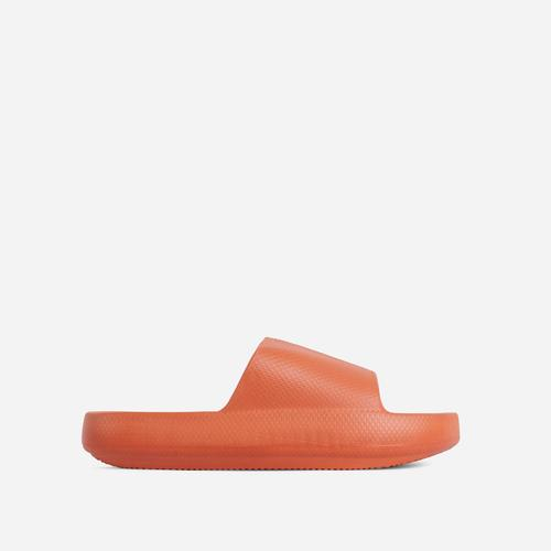 Space Flat Slider Sandal In Orange Rubber
