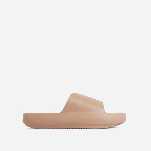 Space Flat Slider Sandal In Khaki Brown Rubber