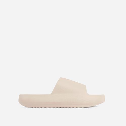 Space Flat Slider Sandal In Beige Nude Rubber