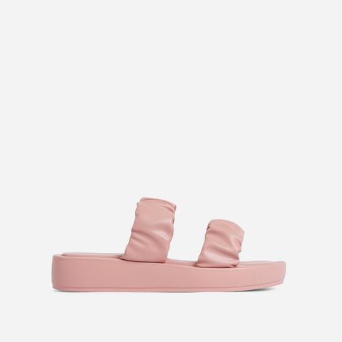 Falcon Ruched Double Strap Chunky Sole Flat Slide Sandal In Pink Faux Leather