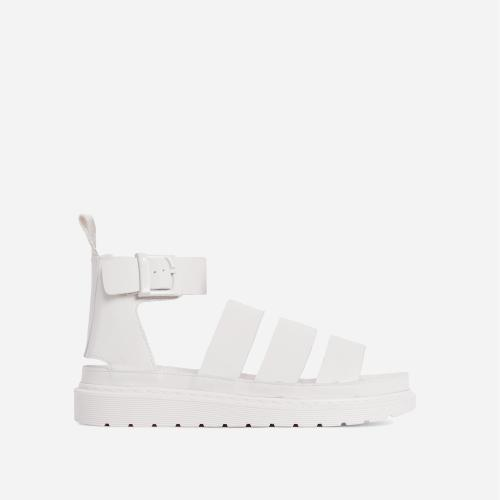 Ally Chunky Sole Flat Gladiator Sandal In White Faux Leather