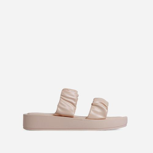 Falcon Ruched Double Strap Chunky Sole Flat Slide Sandal In Beige Nude Faux Leather