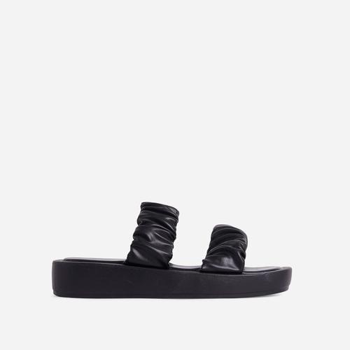 Falcon Ruched Double Strap Chunky Sole Flat Slide Sandal In Black Faux Leather