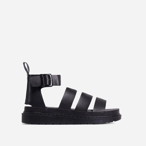 Ally Chunky Sole Flat Gladiator Sandal In Black Faux Leather