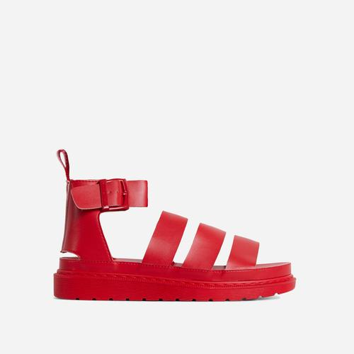 Ally Chunky Sole Flat Gladiator Sandal In Red Faux Leather
