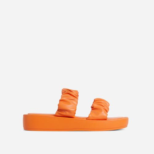 Falcon Ruched Double Strap Chunky Sole Flat Slide Sandal In Orange Faux Leather