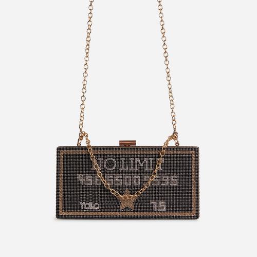 Freya Premium Diamante No Limit Credit Card Slogan Cross Body Bag In Black