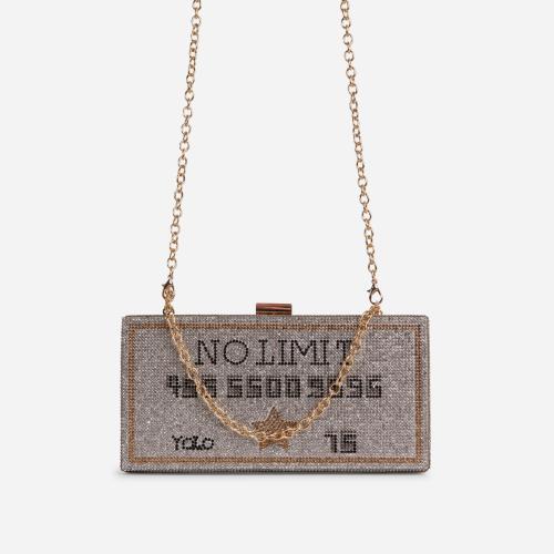 Freya Premium Diamante No Limit Credit Card Slogan Cross Body Bag In Silver