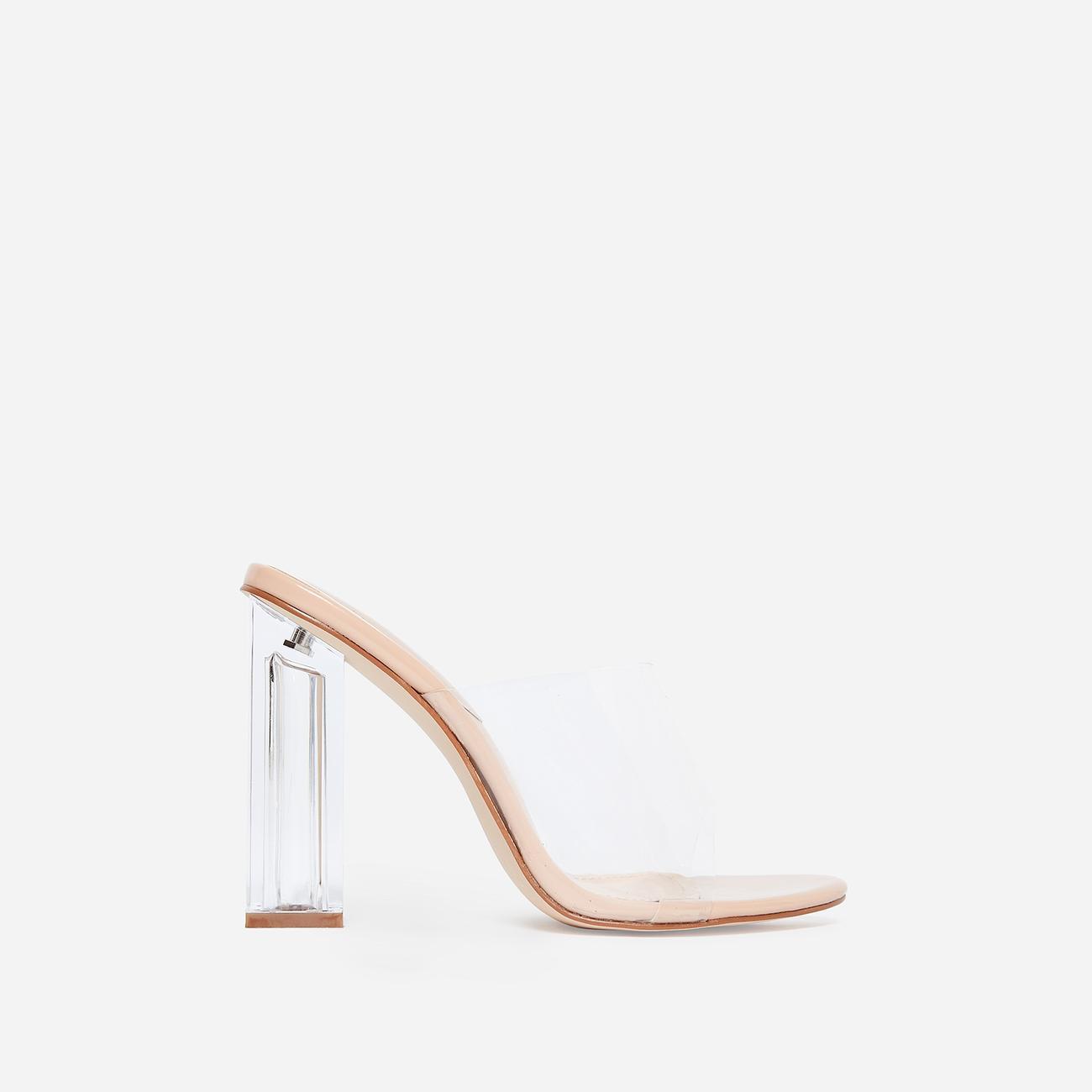 Fusion Peep Toe Perspex Block Clear Heel Mule In Nude Patent Image 2