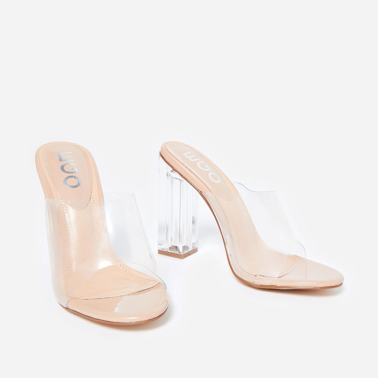 Fusion Peep Toe Perspex Block Clear Heel Mule In Nude Patent Image 3