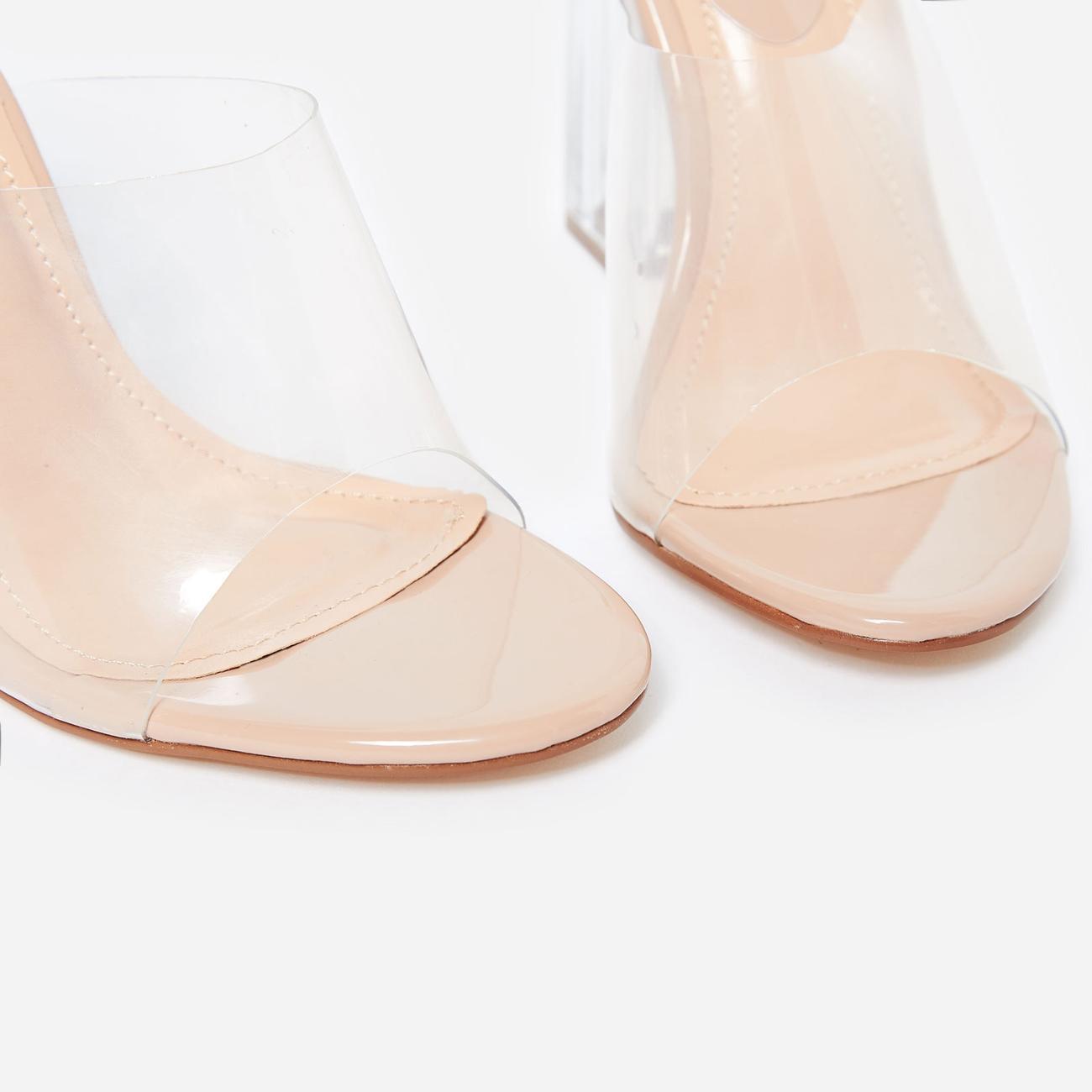 Fusion Peep Toe Perspex Block Clear Heel Mule In Nude Patent Image 4