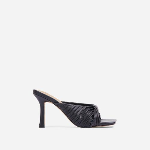 Reese Ruched Detail Square Peep Toe Kitten Heel Mule In Black Faux Leather