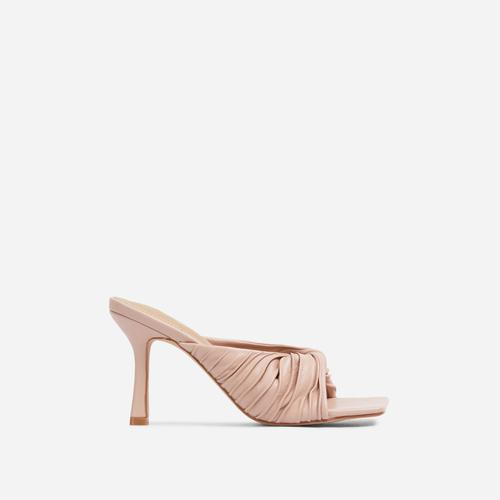 Reese Ruched Detail Square Peep Toe Kitten Heel Mule In Nude Faux Leather