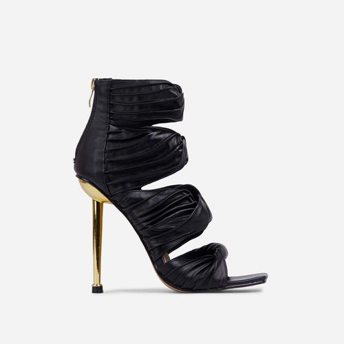 Amphora Knotted Detail Square Toe Caged Metallic Heel In Black Faux Leather
