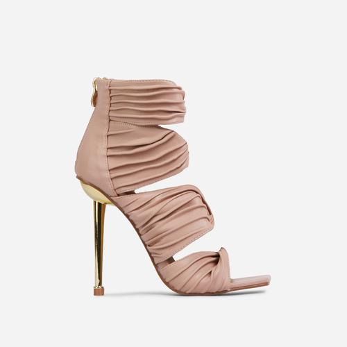Amphora Knotted Detail Square Toe Caged Metallic Heel In Nude Faux Leather
