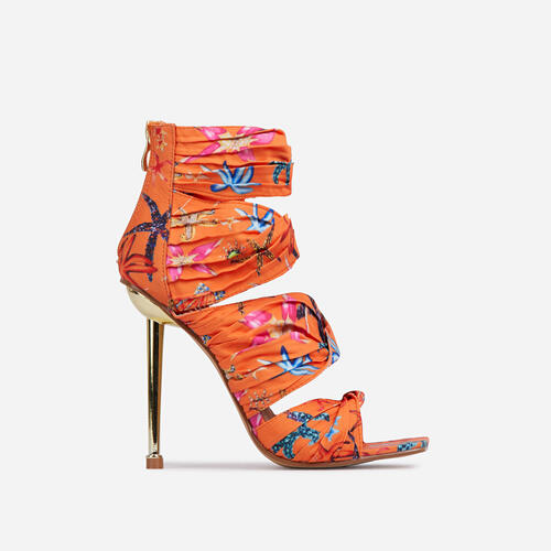 Amphora Knotted Detail Square Toe Caged Metallic Heel In Orange Print