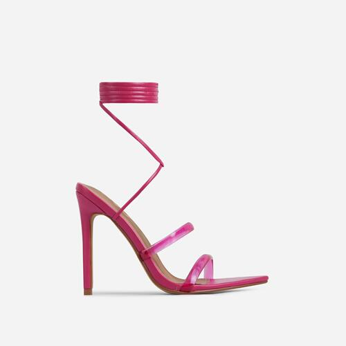 Dolled-Up Perspex Strap Lace Up Pointed Toe Heel In Fuchsia Pink Faux Leather