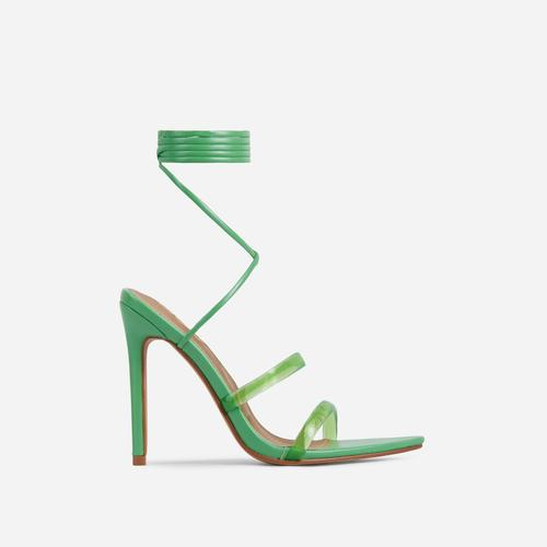 Dolled-Up Perspex Strap Lace Up Pointed Toe Heel In Green Faux Leather