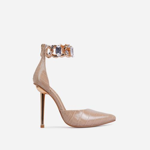 Lyfe Diamante Gem Chain Detail Pointed Toe Metallic Heel In Nude Croc Print Faux Leather