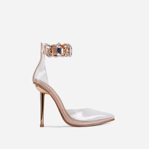 Lyfe Diamante Gem Chain Detail Clear Perspex Pointed Toe Metallic Heel In Nude Faux Leather
