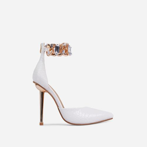 Lyfe Diamante Gem Chain Detail Pointed Toe Metallic Heel In White Croc Print Faux Leather