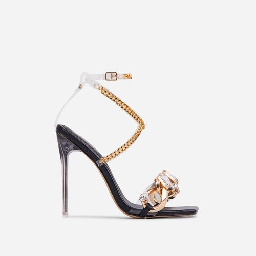 Obsessed Diamante Gem Chain Detail Square Toe Clear Perspex Heel In Black Faux Leather