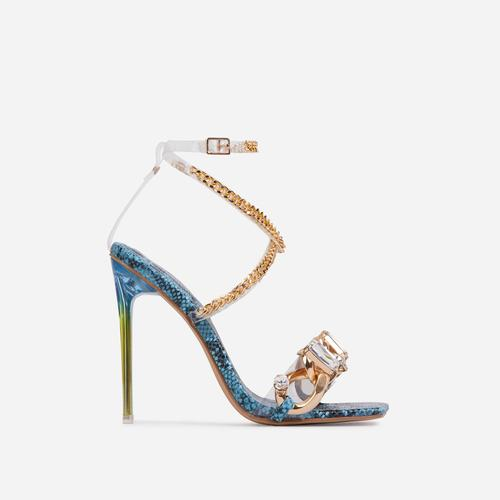 Obsessed Diamante Gem Chain Detail Square Toe Perspex Heel In Blue Snake Print Faux Leather