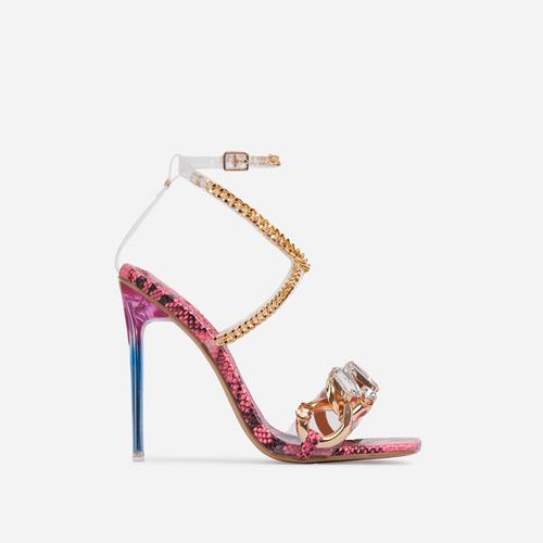 Obsessed Diamante Gem Chain Detail Square Toe Perspex Heel In Pink Snake Print Faux Leather