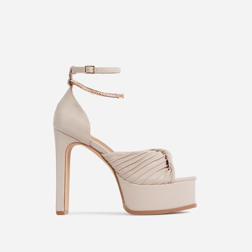 On-Point Ruched Chain Detail Platform Thin Block Heel In Nude Faux Leather