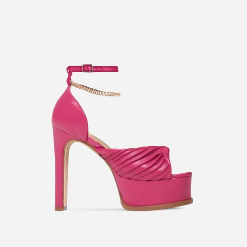 On-Point Ruched Chain Detail Platform Thin Block Heel In Fuchsia Pink Faux Leather