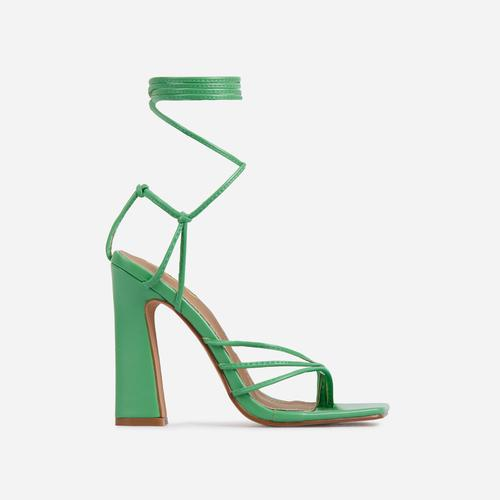 Wrap-Party Strappy Lace Up Square Toe Block Heel In Green Faux Leather