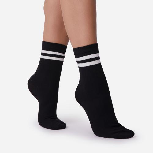 Double Stripe Detail Sport Sock In Black