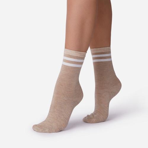 Double Stripe Detail Sport Sock In Nude