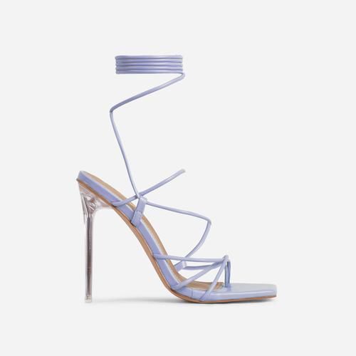Sunbathe Square Toe Lace Up Clear Perspex Heel In Lilac Faux Leather