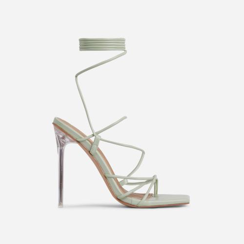 Sunbathe Square Toe Lace Up Clear Perspex Heel In Sage Green Faux Leather