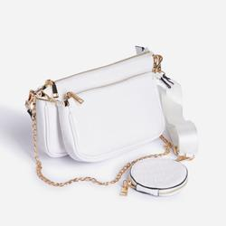 Mika Chain And Purse Detail Cross Body Bag In White Croc Print Patent