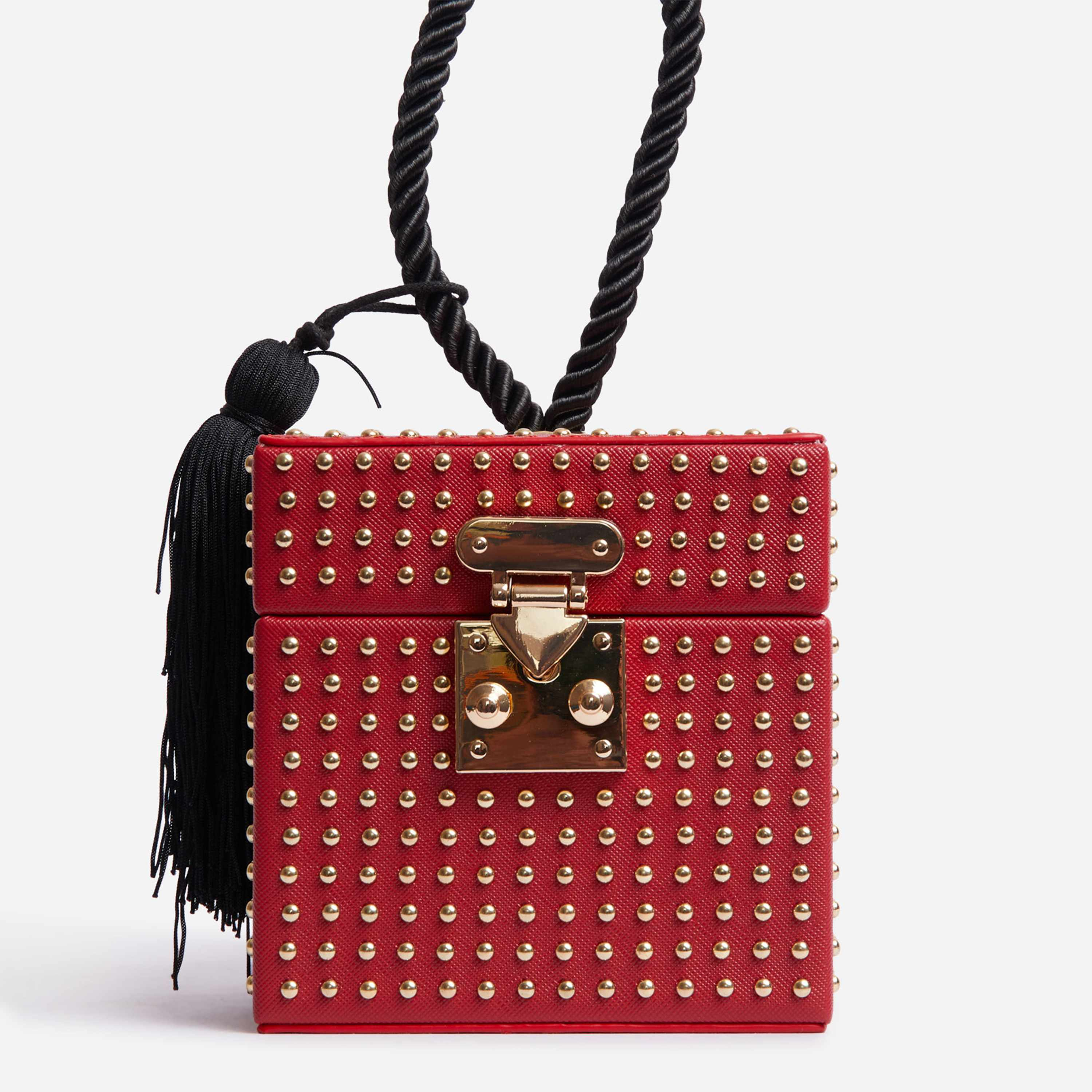 Studded Detail Box Bag In Red Faux Leather