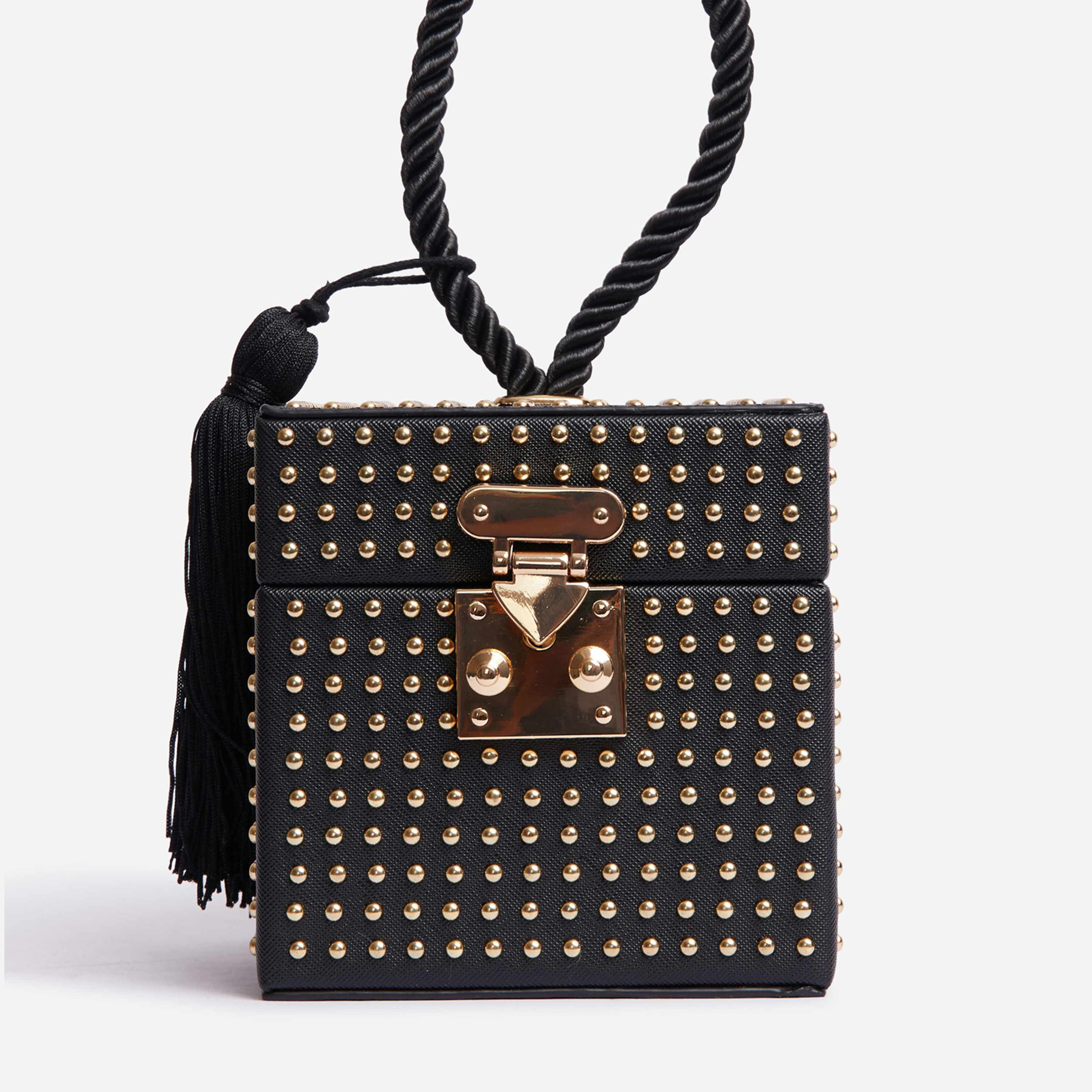 Studded Detail Box Bag In Black Faux Leather