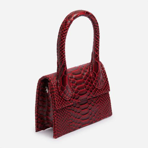 Nellie Super Mini Grab Bag In Textured Red Snake Print Faux Leather