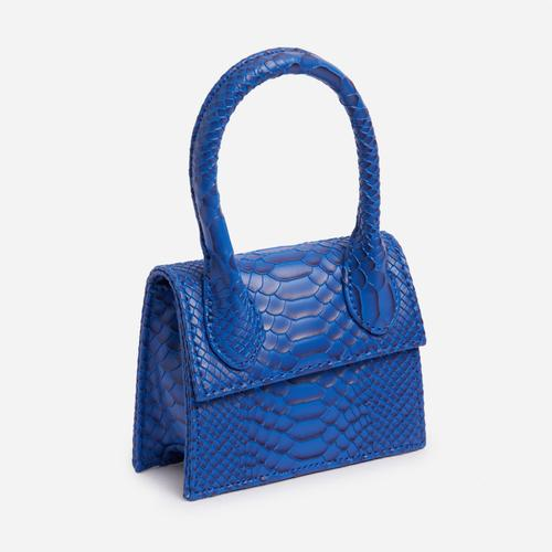 Nellie Super Mini Grab Bag In Textured Blue Snake Print Faux Leather