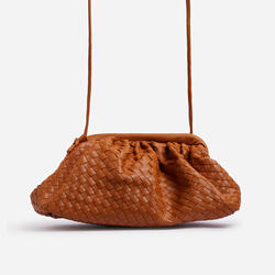 Woven Pouch Cross Body Bag In Tan Faux Leather