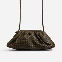 Woven Pouch Cross Body Bag In Khaki Faux Leather