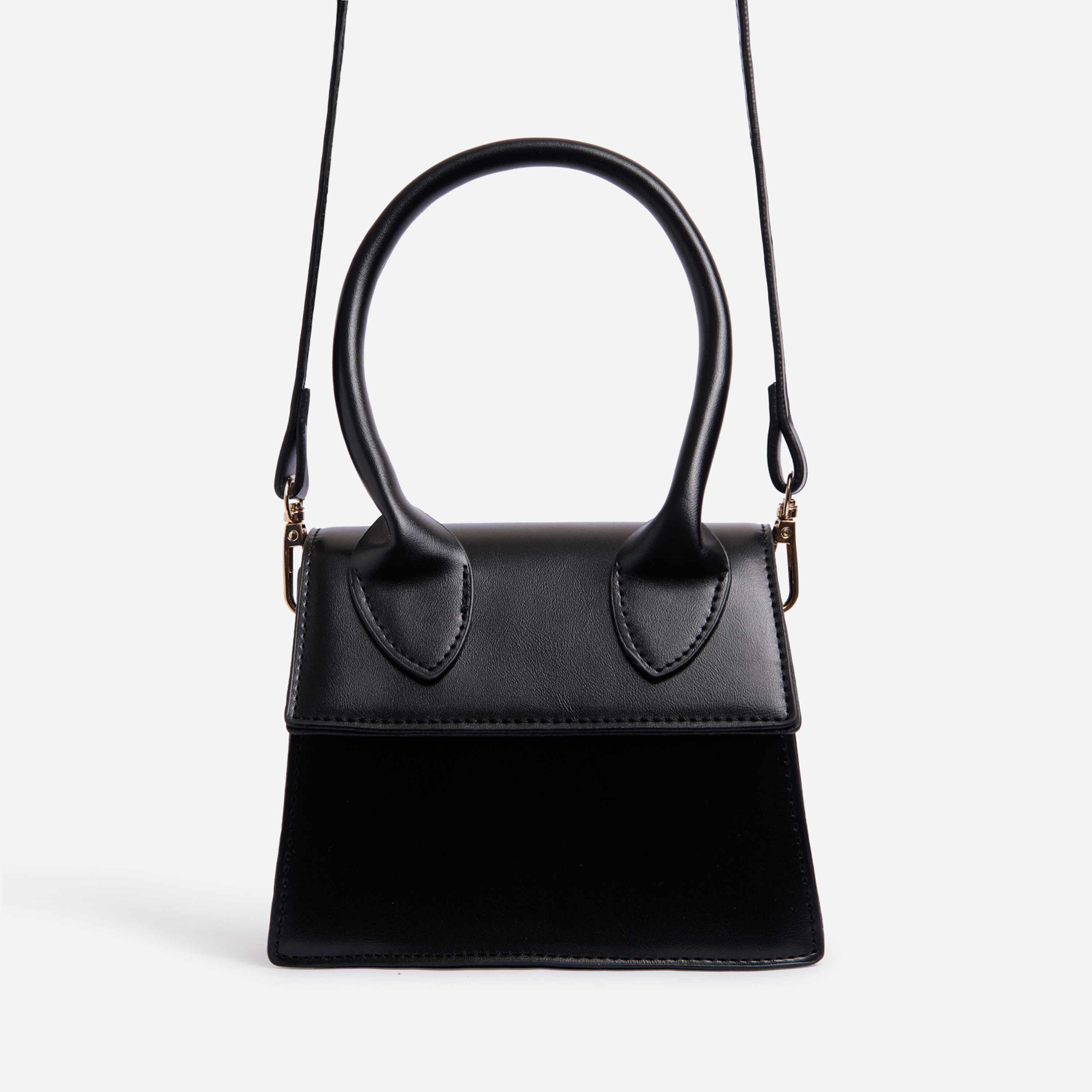 Torie Mini Grab Bag In Black Faux Leather