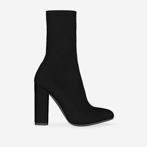 Hayden Block Heel Sock Boot In Black Lycra