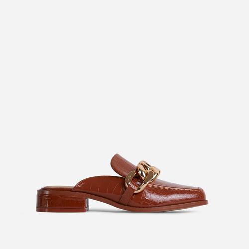 Huntington Chain Detail Flat Mule In Tan Brown Croc Print Faux Leather